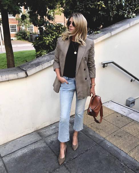 Jacket Plaid Blazer Plaid Blazer Grey Blazer Denim Jeans Blue