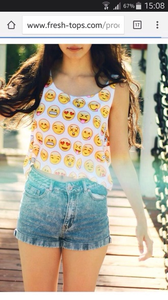 t-shirt emoji print yellow top shirt