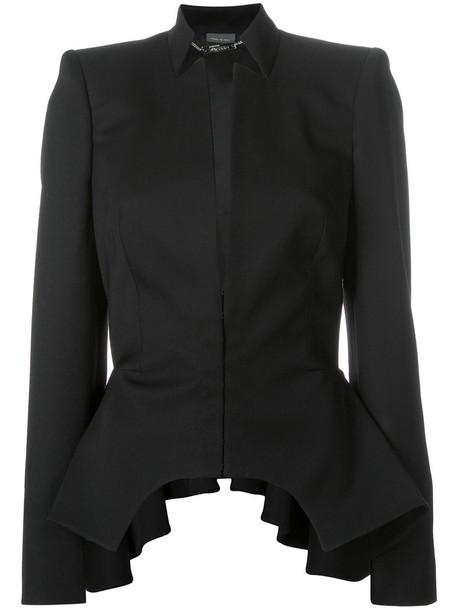 Alexander Mcqueen jacket peplum jacket cut-out women black wool
