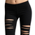 CUT OUT Distressed Elastic Pull On STRETCH LEGGINGS Biker Skinny Jeggings