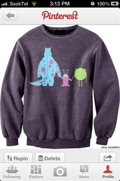 sweater,monsters inc,pinterest,grey sweater