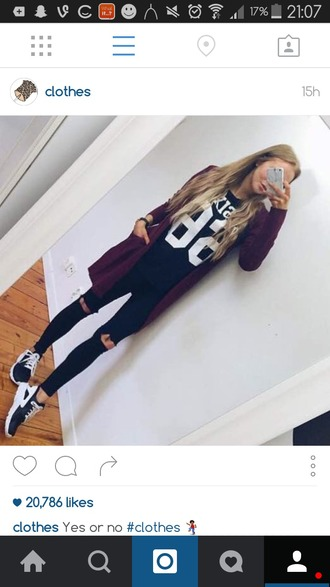 cardigan f21 black white burgundy oversized cardigan top jersey jeans ripped shoes nike addias shoes nike shoes women chic dark outfits dark fashion outfit instagram buff buff ting ??? clothes casual