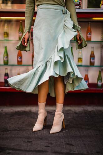 skirt tumblr midi skirt wrap ruffle skirt ruffle wrap skirt asymmetrical sock boots