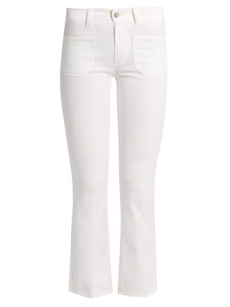 jeans flare jeans flare embroidered cropped floral white