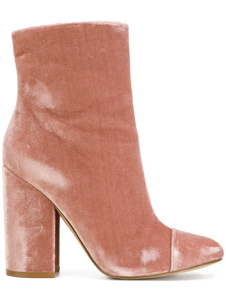 KENDALL+KYLIE women ankle boots leather velvet purple pink shoes