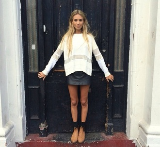skirt leather jumper brown shoes black skirt style