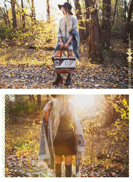 folk blogger felt hat boho jewels top fall outfits ready gypset go socks statement necklace poncho
