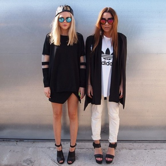 white adidas blouse black glasses