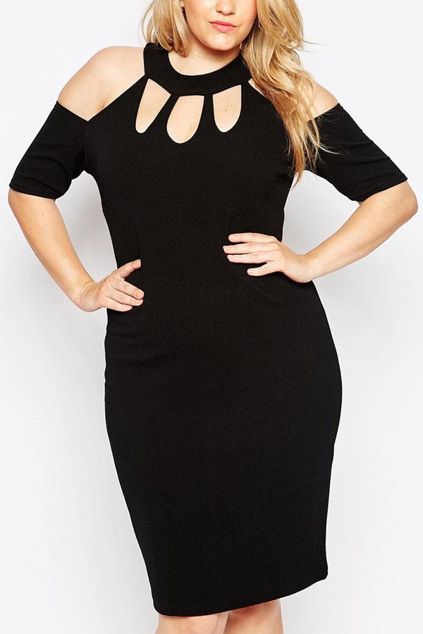 Black Cutout Sexy Bodycon Plus Size Dress
