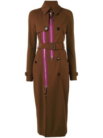 coat trench coat zip women silk brown