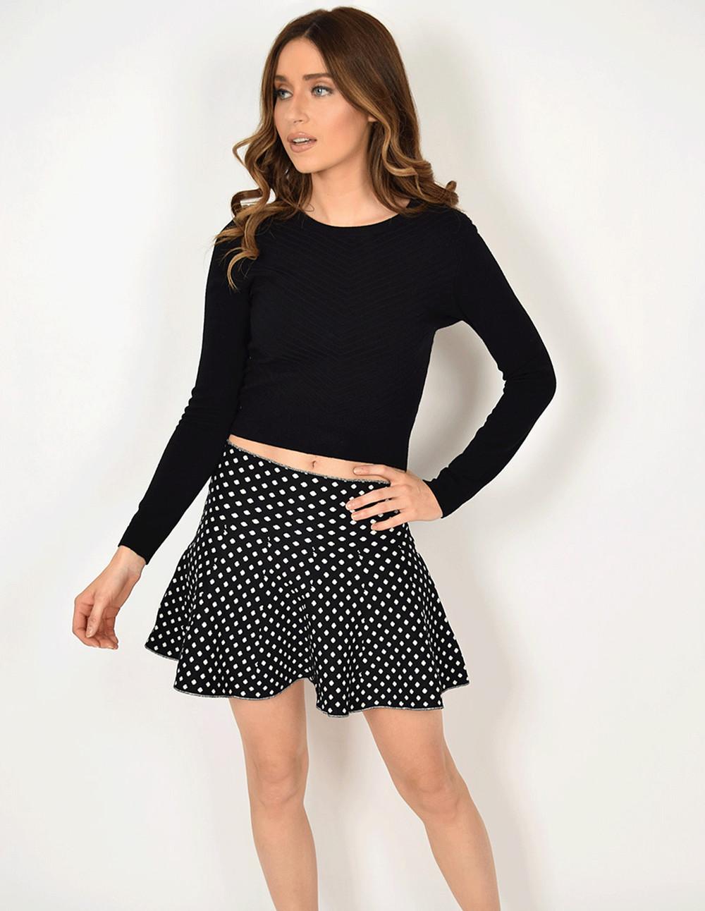 Blue Vanilla ROONEY - Ditsy Diamond A-Skirt in black