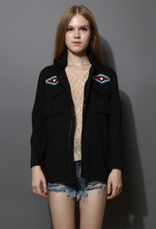 coat,aztec,embroidered,military style,parka,black