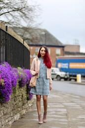 preppy fashionist,blogger,jacket,dress,bag,shoes,bomber jacket,pink jacket,spring outfits,blue dress,shoulder bag,ankle boots,nude bag,mini dress