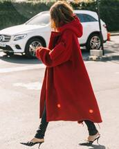 coat,red coat,wool coat,oversized coat,mules,jeans,black jeans