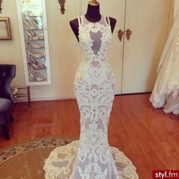Dress white lace dress long dress mermaid dresses for Skin tight wedding dresses
