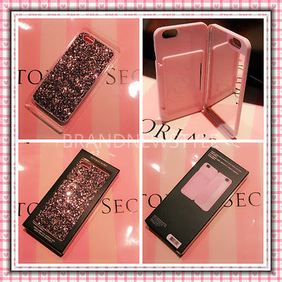 470d291505cfc Victorias Secret Pink Glitter iPhone 5 5S 5c 6 6S Hard Case Mirror Card  Holder | eBay