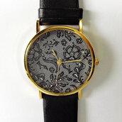 jewels,lace,black,gold,freeforme,watch,cute