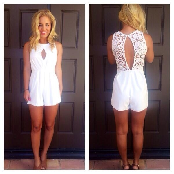 dress white romper jumpsuit lace romper open back