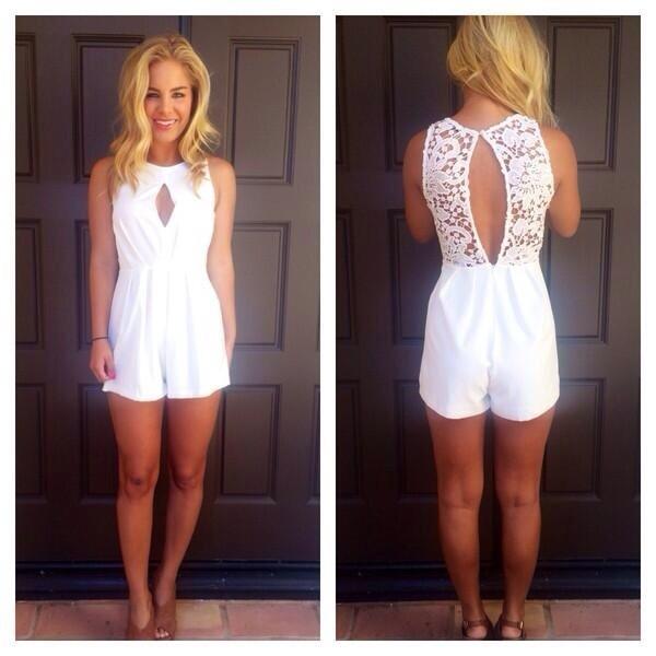 dress white romper jumpsuit lace romper open back