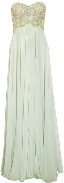 Marchesa Beaded Silk Chiffon Gown in Green | Lyst