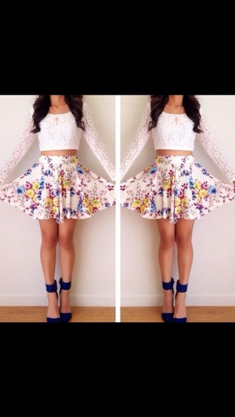 top lace top white crop tops skirt flowered shorts high heels crop tops long sleeves