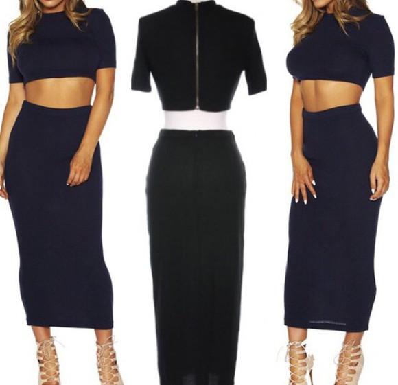 midi skirt style crop tops two-piece bodycon dress