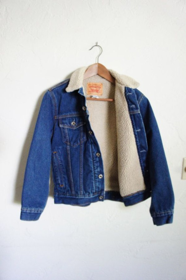 Ladies Fleece Lining Single Breasted Casual Denim Jacket Blue XS