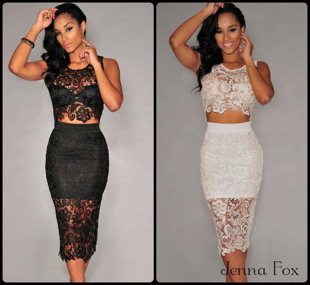 New women's sexy bodycon 2 pcs black lace outfit sheer crop top skirt set