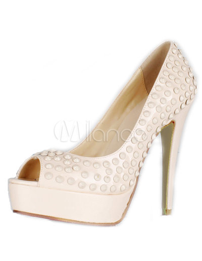 Grace Nude Color Patent Leather Studded Women's Peep Toe Pumps - Milanoo.com