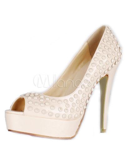 Grace nude color patent leather studded women's peep toe pumps