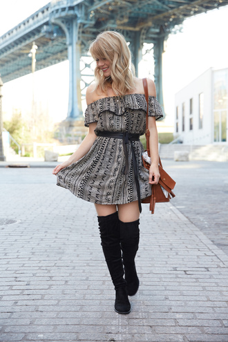 miss lyle style blogger off the shoulder mini dress aztec brown dress waist belt brown bag shoulder bag knee high boots suede boots date outfit