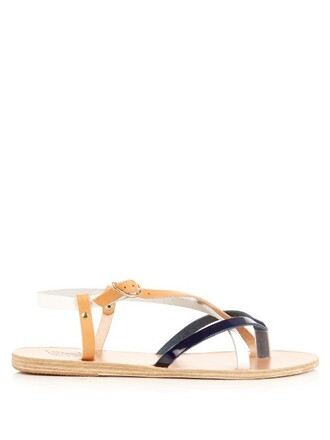 sandals leather sandals leather white blue shoes