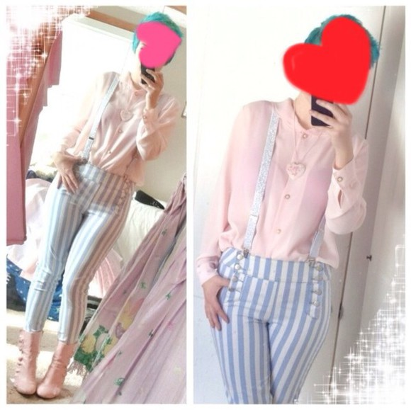 blue and white striped striped pants kawaii