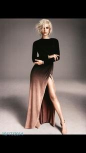 dress,ombre,black dress,long dress,long sleeve dress,tan,velvet,velvet dress,maxi,prom,fashion,style,gradient,slit dress,sexy,black,peach,maxi dress,side split,skirt,clothes,sexy dress,cute dress,outfit,shoes,heels,boots,autumndress,party dress,girl,top,zaful,beautiful,fall dress,winter outfits,slit,gold,bronze,and those heels,long sleeves,ombre dress