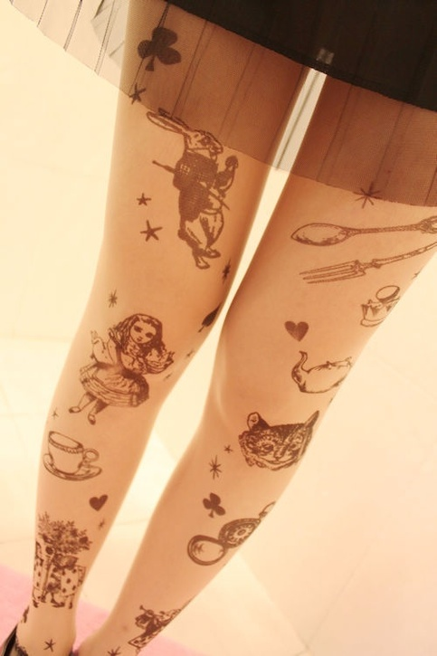 Alice in wonderland tattoo tights