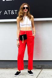 le fashion image,blogger,sunglasses,pants,shoes,white crop tops,white top,red pants,yves saint laurent,black bag,mini bag
