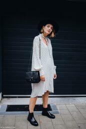 dress,midi dress,polka dots,boots,bag,earrings