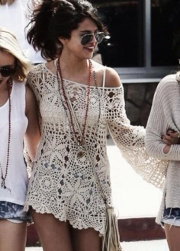 blouse selena gomez crochet