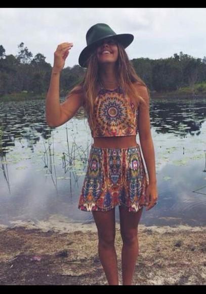 hippie boho jumpsuit two-piece