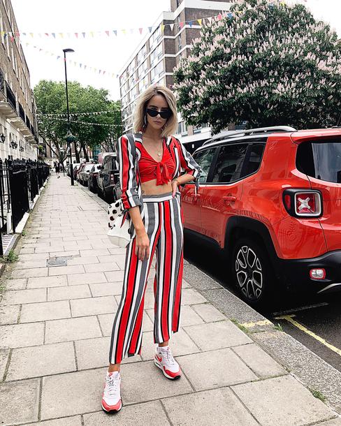 pants top stripes sunglasses shoes
