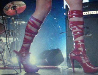 shoes red red shoes red sandals sandals movie scott pilgrim envy adams heels red heels