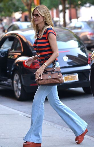 jeans flare jeans wedges stripes striped top heidi klum purse