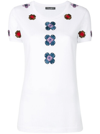 t-shirt shirt embroidered women white cotton silk top