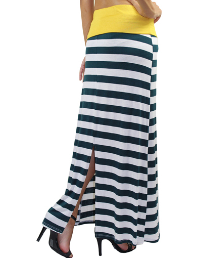 day striped maxi skirt dress green and gold