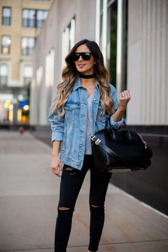 jacket black choker grey sweater denim jacket black ripped jeans sunglasses blogger