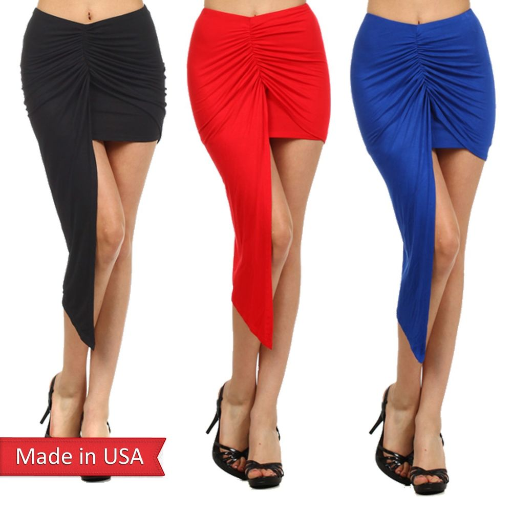 New Women Trend Hi Lo Draped Asymmetrical Hem Wrapped Mini Tube Pencil Skirt USA