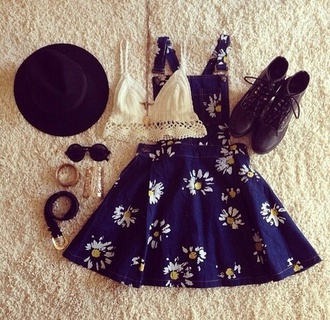 dress floral navy shoes tank top underwear bra blue hat glasses sunglasses flowers girly shirt boho overalls white round sunglasses fedora gold jewelry