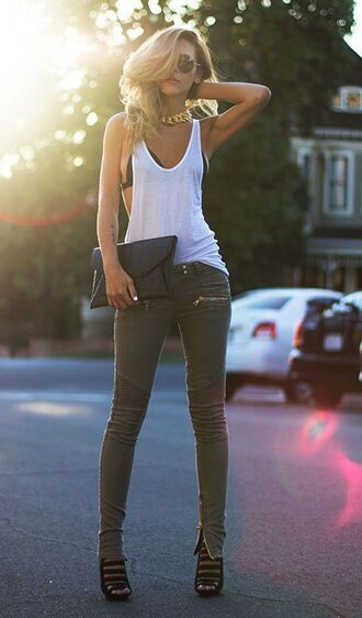 top white top gold sexy rock style accessories