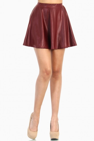 OMG Faux Leather Skater Skirts - Burgundy