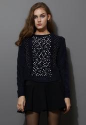 sweater,beaded,embellished,knitwear,navy